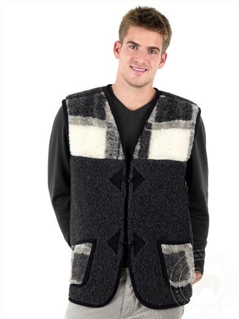 Теплые мужские жилетки из овечьей шерсти