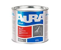 """Эмаль-грунт алкид-уретановая AURA """"3 в 1"""" антикоррозионная белая 2,5л"""