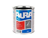 """Эмаль-грунт алкид-уретановая AURA """"3 в 1"""" антикоррозионная черная 0,8л"""