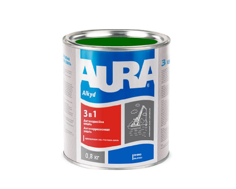 """Эмаль-грунт алкид-уретановая AURA """"3 в 1"""" антикоррозионная зеленая 0,8л"""