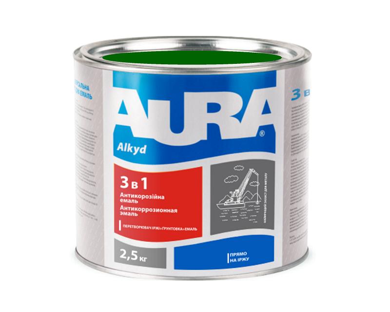 """Эмаль-грунт алкид-уретановая AURA """"3 в 1"""" антикоррозионная зеленая 2,5л"""