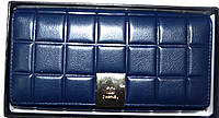 Женский синий кошелек из натуральной кожи Chanel 18*9