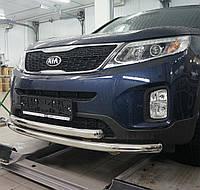 Кенгурятник двойной ус на Kia Sorento (2012-2014) Can Otomotiv PRS