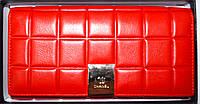 Женский красный кошелек из натуральной кожи Chanel 18*9