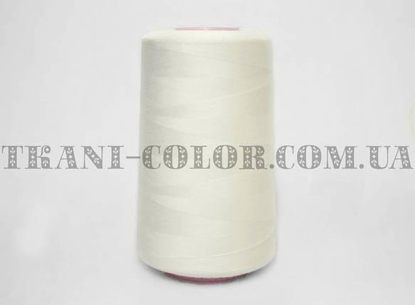 Нитка швейная 40/2 молочная 4000 ярдов, фото 2