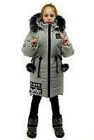Зимнее полупальто с мехом чернобурки для девочки