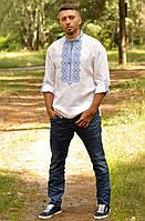 Чоловіча вишиванка  біла з синім