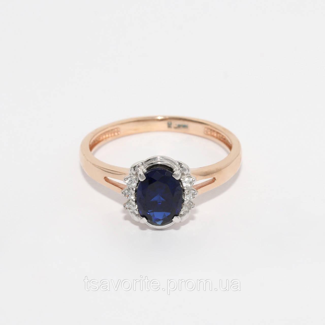 Золотое кольцо с искусственным сапфиром 80767-с.кор.сап