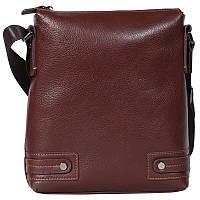 Удобная мужская кожаная сумка-планшетка через плечо коричневая Tofionno TF003301741