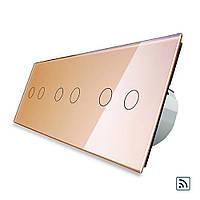 Шестисенсорный выключатель Livolo 2+2+2 с функцией ДУ, золотой, стекло (VL-C706R-13), фото 1