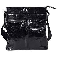 Оригинальная мужская кожаная сумка через плечо лакированная черная Tofionno TF003301871