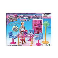 Мебель для куклы Gloria 2912  для гостинной, стол, 4 стула, сервант, посуда, торшер в кор, 28*20*7, 5  см.