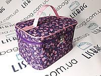 Женская вместительная косметичка фиолетовая в цветок  р28*18*16