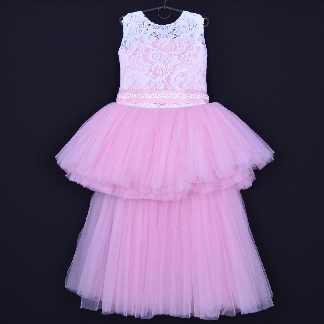 """Нарядное детское платье """"Ванесса"""". 6-8 лет. Бело-розовое. Оптом и в розницу"""