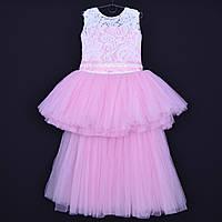 """Нарядное детское платье """"Ванесса"""". 6-8 лет. Бело-розовое. Оптом и в розницу, фото 1"""