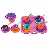 """Набір посуду на 6 персон """"Ромашка"""" з підносом і чайником (22 пред.), арт. 39086, Тигрес"""