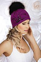Модная женская шапка с меховым помпоном GIZELDA цикламен