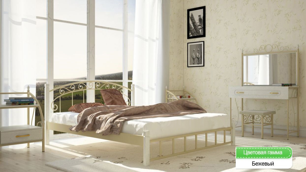 двуспальная кровать афина металл дизайн 1400 1800х1900 2000 мм