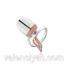 Серебряное кольцо-ноготь с позолотой К23Ф/818