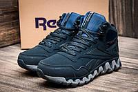 Зимние мужские кроссовки Reebok Gore Tex, на меху, темно-синие, р. 42 43