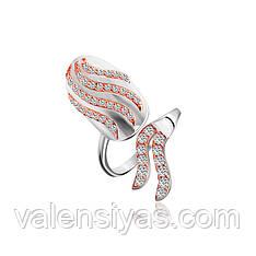 Серебряное кольцо-ноготь с камнями и золотом К23Ф/819