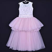 """Нарядное детское платье """"Ванесса"""". 6-8 лет. Белое+пудра. Оптом и в розницу"""