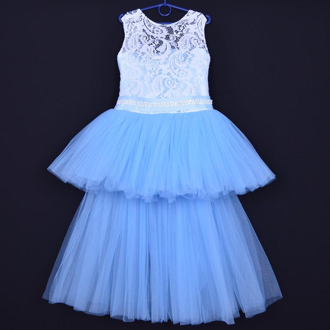 """Нарядное детское платье """"Ванесса"""". 6-8 лет. Бело-голубое. Оптом и в розницу"""