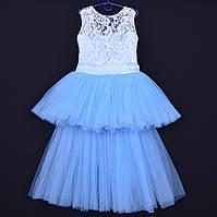 """Нарядное детское платье """"Ванесса"""". 6-8 лет. Бело-голубое. Оптом и в розницу, фото 1"""