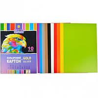 """Цветной картон А4 10 листов №2 """"Коленкор"""""""