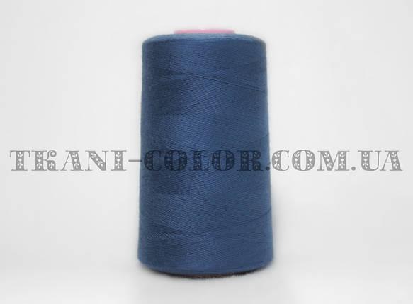 Нитка швейная 40/2 синяя 4000 ярдов, фото 2