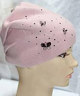 Шапка зимняя с камушками, розовая