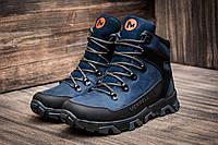 Зимние ботинки мужские Merrell, синие, натуральная кожа, р. 40
