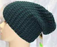 Шапка вязанная зимняя, зеленая