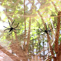 Паутина оранжевая с пауками, декор на Хэллоуин