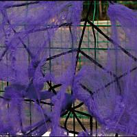 Паутина фиолетовая с пауками, декор на Хэллоуин