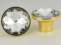 Мебельная ручка кнопка с кристаллом 30 мм, фото 1