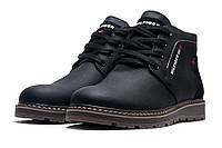 Ботинки зимние Hilfiger Denim, на меху мужские, натуральная кожа, черные, р. 40 41 42 43 44 45