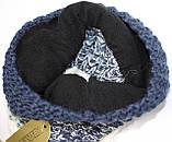 Шапка вязанная на флисе зимняя, сине-белая, фото 5