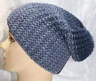 Шапка вязанная зимняя, джинсового цвета
