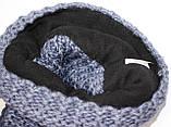Шапка вязанная зимняя, джинсового цвета, фото 5