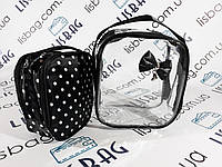Косметичка  2в1 черная и прозрачная, фото 1