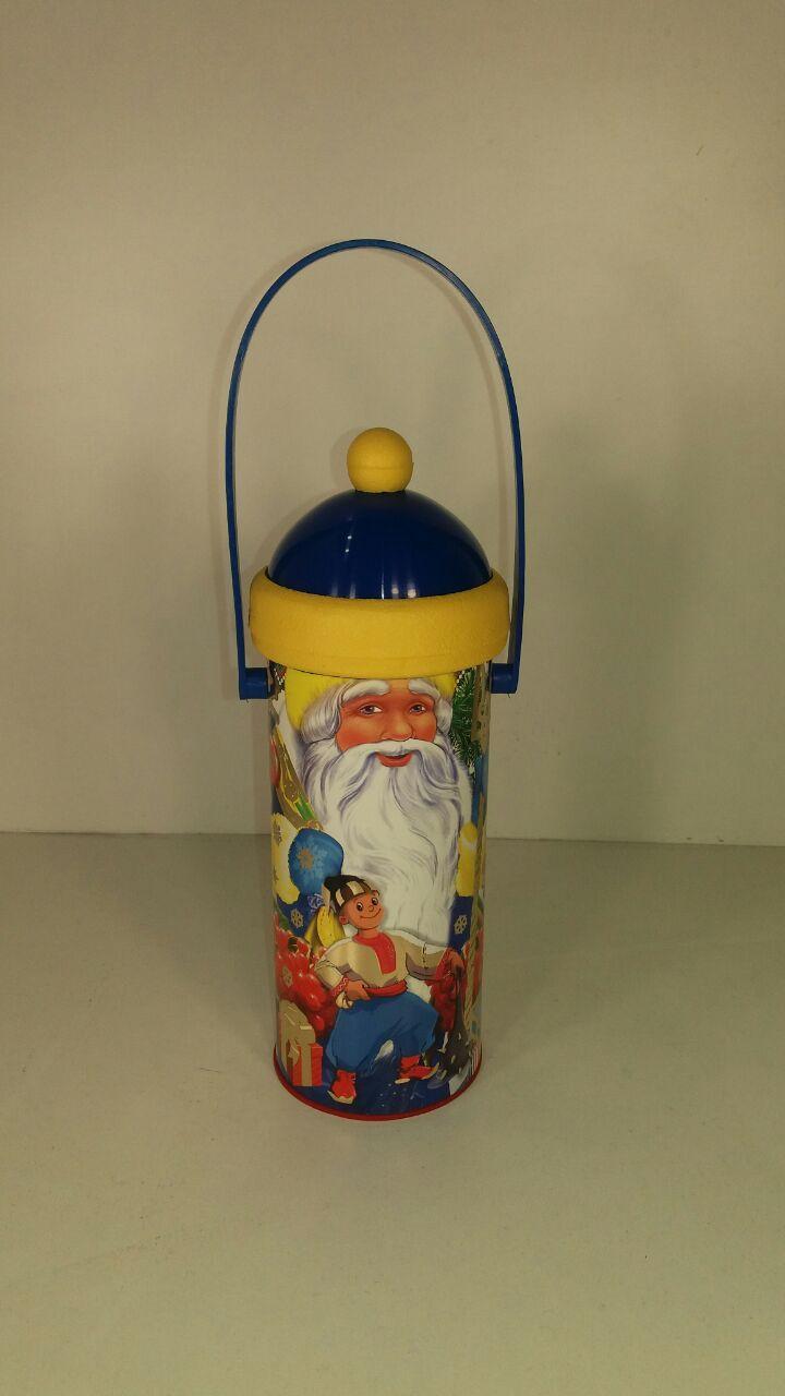 Упаковка для подарка новогодняя тубус малый, Дед Мороз и мальчик (1 шт)