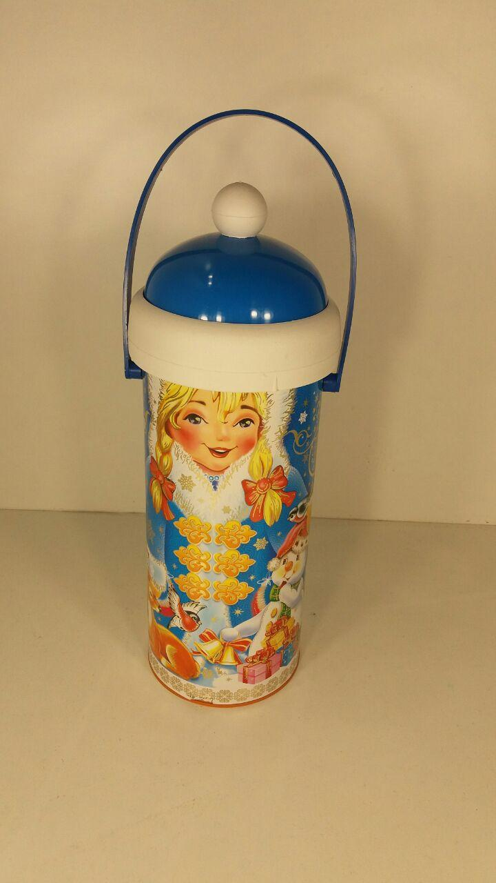 Подарочная новогодняя упаковка для сладких подарков тубус для конфет средний, Снегурочка (1 шт)