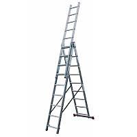 Лестница трехсекционная алюминиевая бытовая KRAUSE Corda 3*9 ступеней 3x9,3х9