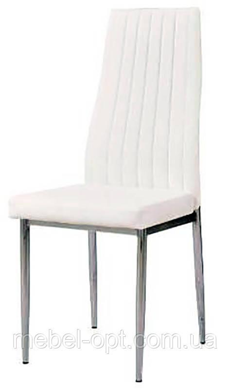Стул Colin AC2-001D кожзам белый, металлический хромированный каркас, спинка с сиденьем мягкие