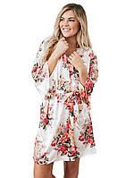 Сатиновый халат с цветочным принтом, фото 1