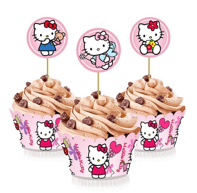 """Топпери для капкейків, десертів і кексів """"Кітті"""", 6 шт./уп."""