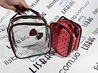 Косметичка органайзер  2в1  Прозрачная и розовая