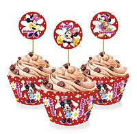 """Топперы для капкейков, десертов и кексов """"Минни Маус"""", 6 шт./уп."""