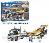 Конструктор Bela серия Urban 10650 Грузовик для перевозки драгстера (аналог Lego City 60151)